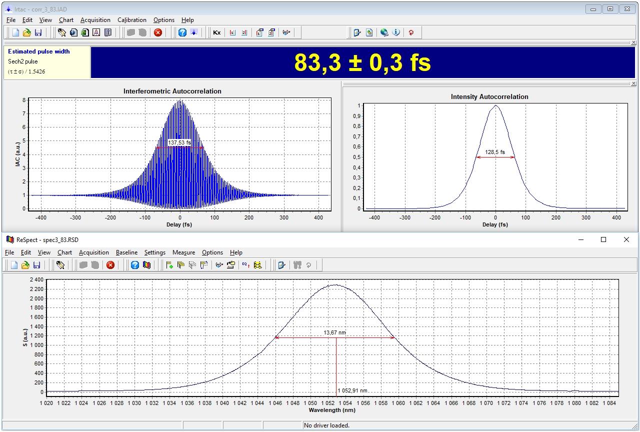 Автокорреляционная функция и спектр импульса лазерной системы TEMA-100