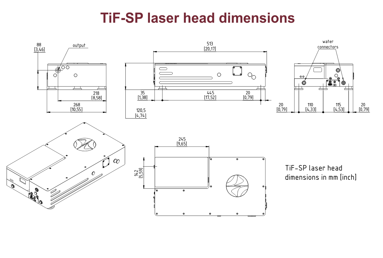 Dimensional drawing of TiF-SP laser with an integrated DPSS pump laser