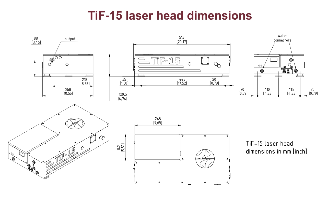 Dimensional drawing of TiF-15 laser with an integrated DPSS pump laser