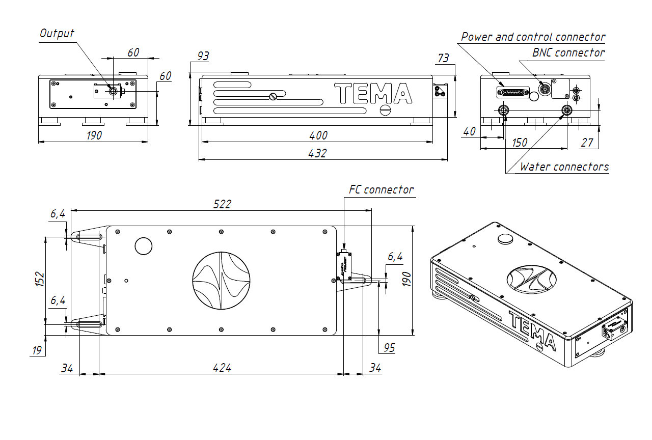 Dimensional drawing of TEMA-100/150 laser optical head