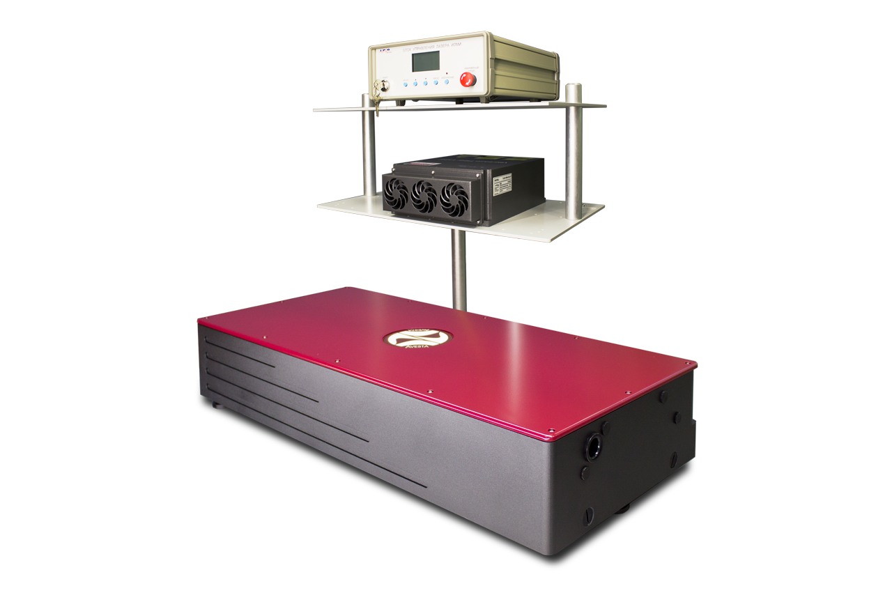 The CrF-800TP laser head with fiber pump laser rack