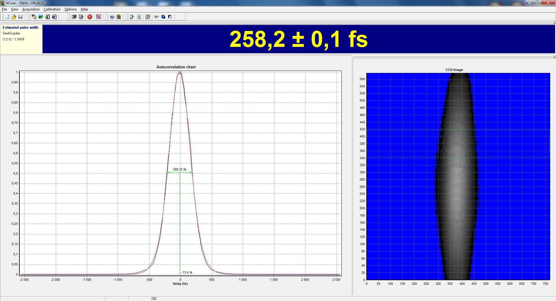 Измерение длительности импульса ТЕТА-6 автокоррелятором ASF