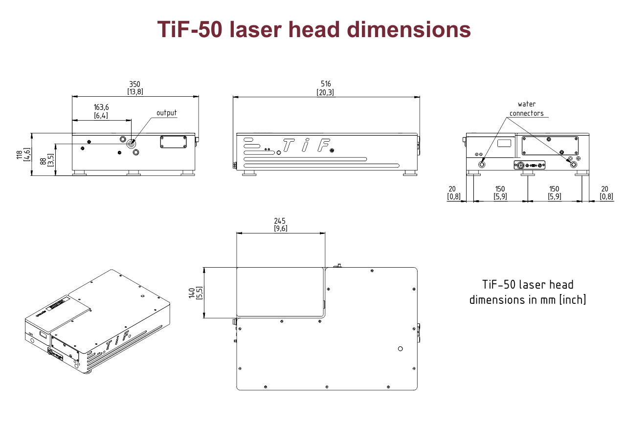 TiF-50 laser head dimensions including the compartment for an integrated pump laser head