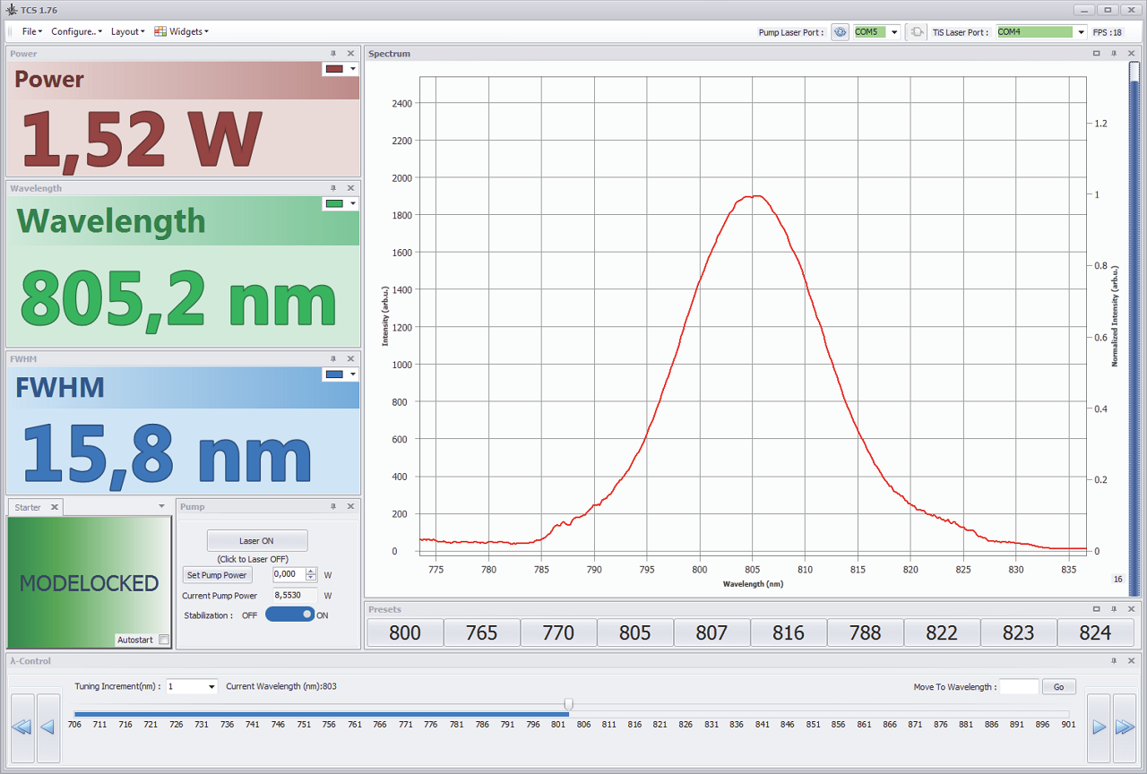 "A screenshot of the software included in the ""Auto"" TiF laser supply package with true feedback wavelength tuning"