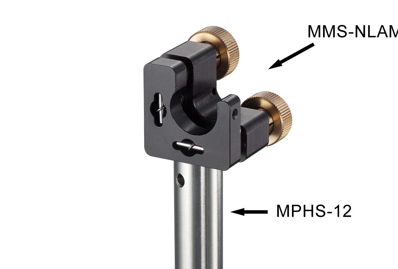 MMS-NLAM. Малый юстируемый держатель для оптики с прорезью, с потайными винтами с фиксацией, левый. На стальном установочном стержне Ф12 мм