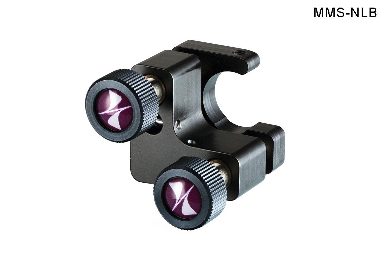 MMS-NLB. Малый юстируемый держатель для оптики с прорезью, с винтами с круглыми ручками, левый