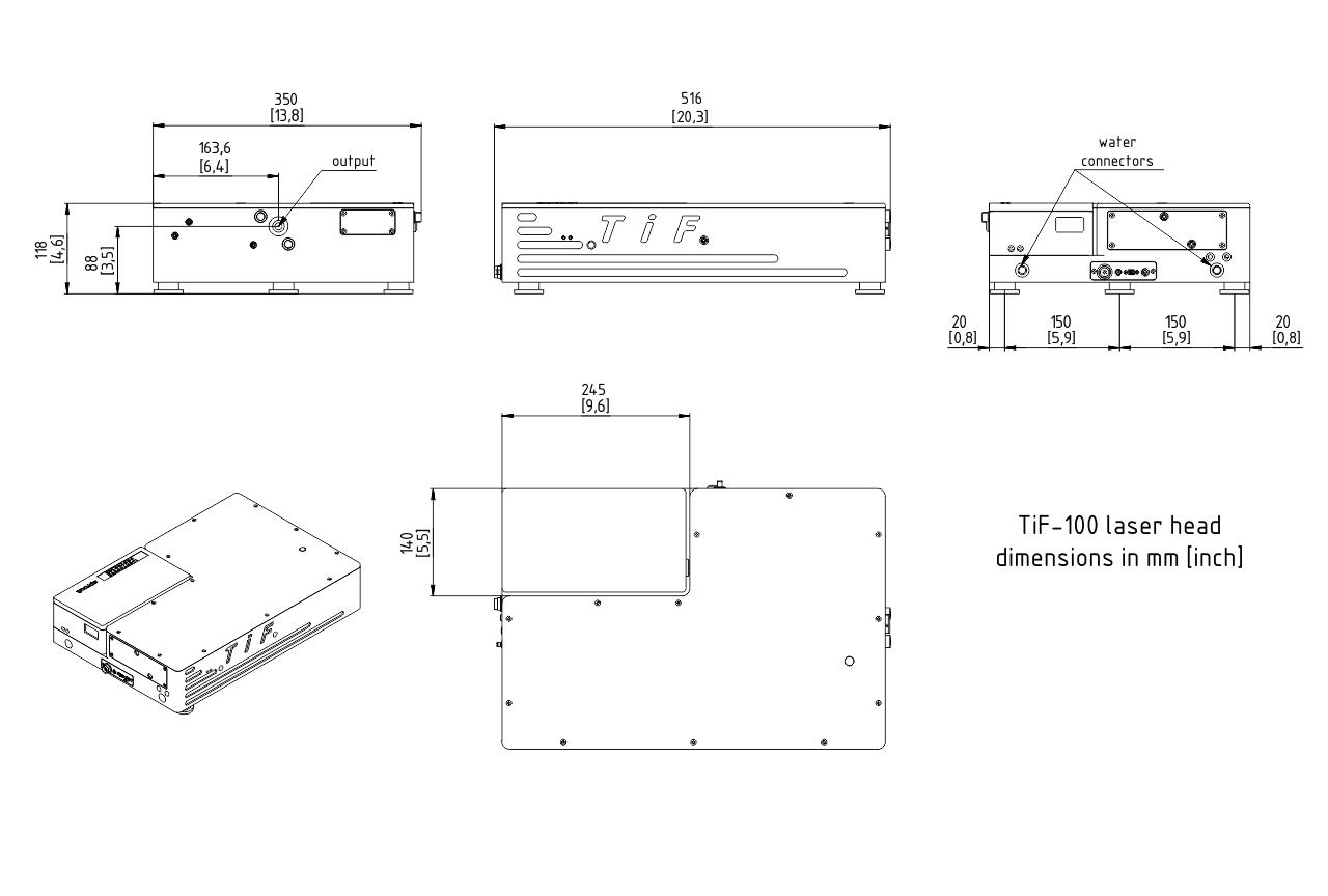 TiF-100 ultrafast laser head dimensions (including pump laser compartment)