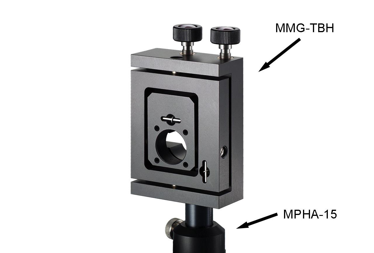 MMG-TH. Шарнирный регулируемый держатель для оптики с винтами с круглыми ручками. На установочном модуле MPHa-15