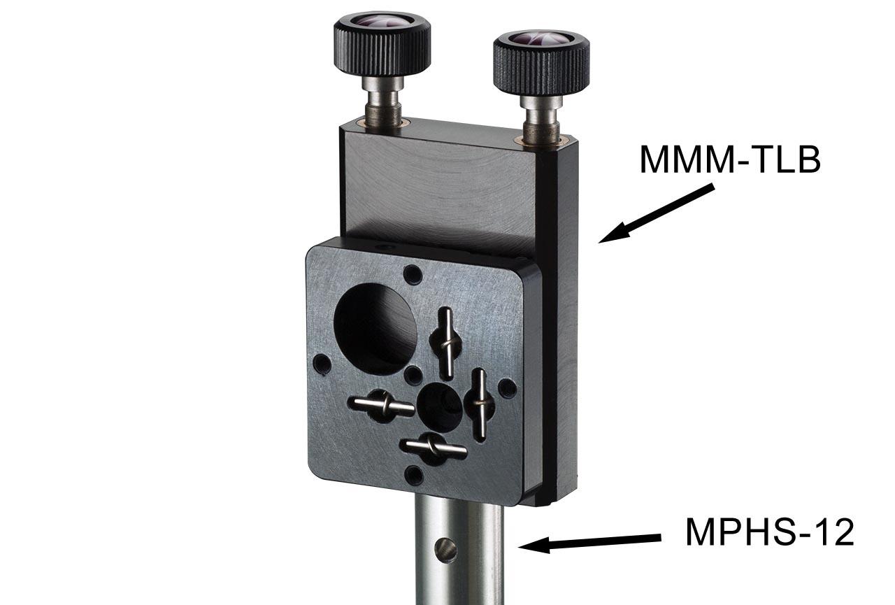 MMM-TLB. Средний вертикальный юстируемый держатель для оптики с винтами с круглыми ручками, левый. На стальном установочном стержне Ф12 мм