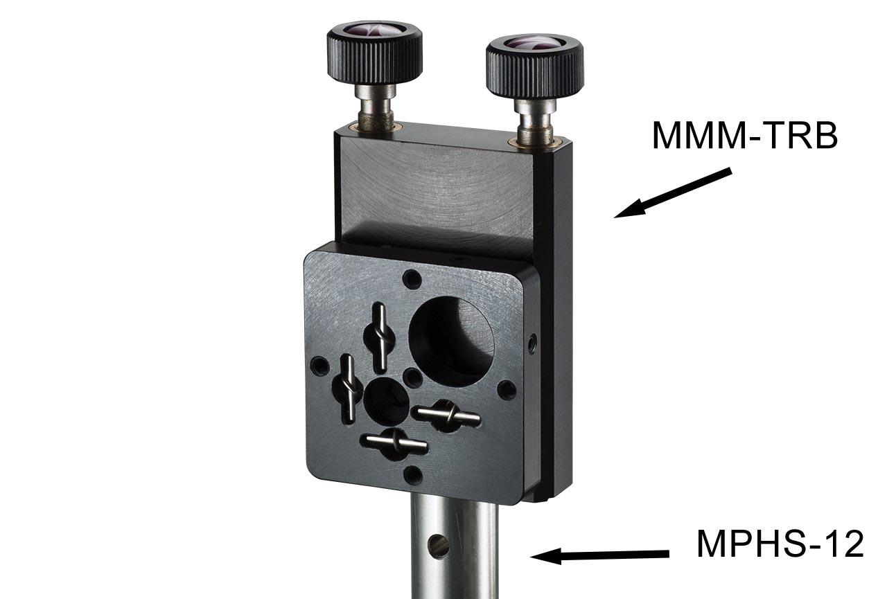 MMM-TRB. Средний вертикальный юстируемый держатель для оптики с винтами с круглыми ручками, правый. На стальном установочном стержне Ф12 мм