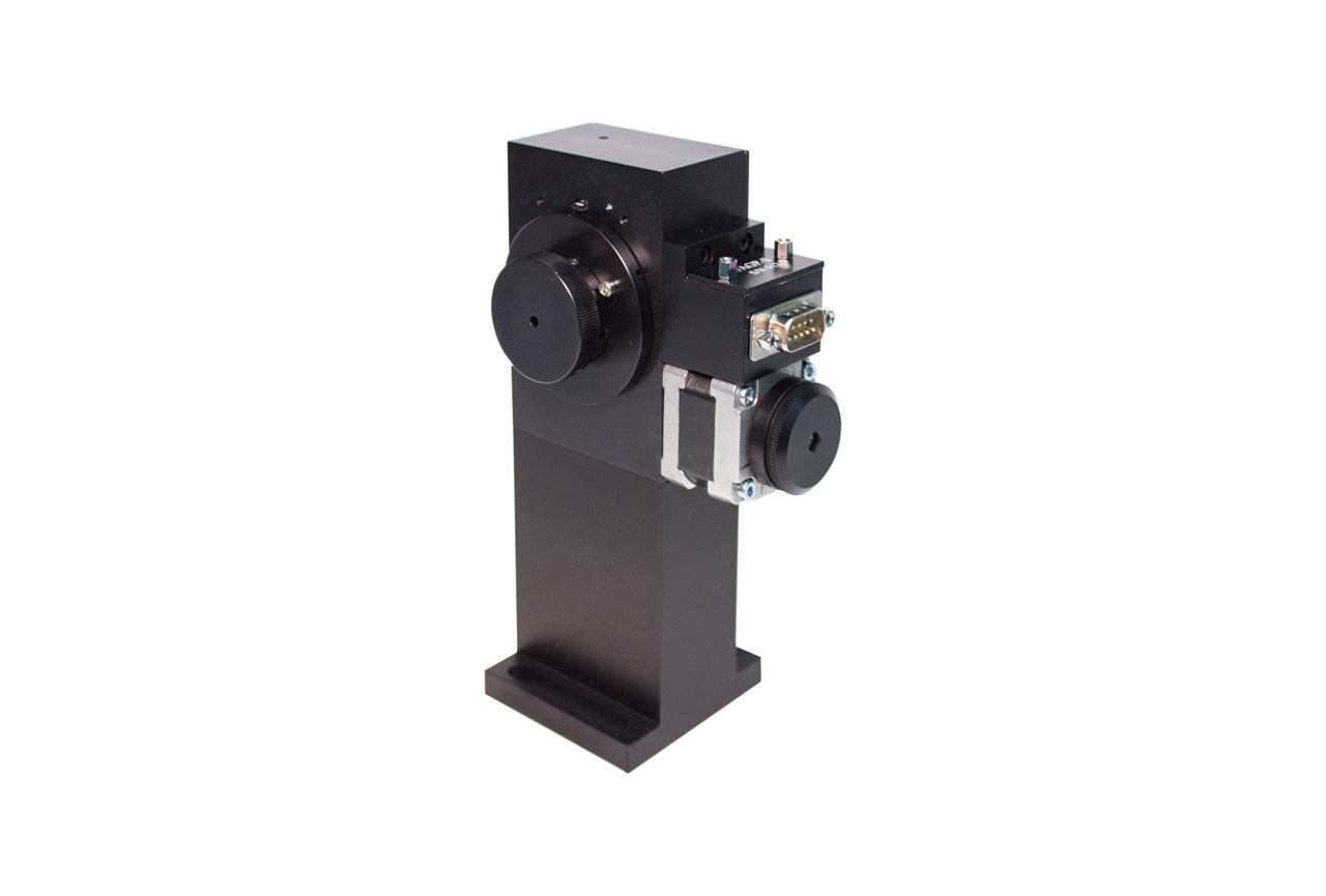 The OAGP-10-S motorized optical attenuator on a beam height riser