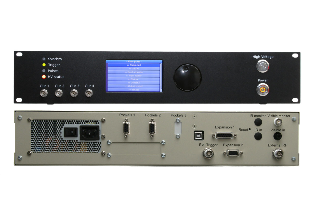 Front and rear panels of the OG series multifunctional control unit (delay generator, power supply, optical and electric RF sync input, trigger signals, stand-alone and USB-controlled operation)