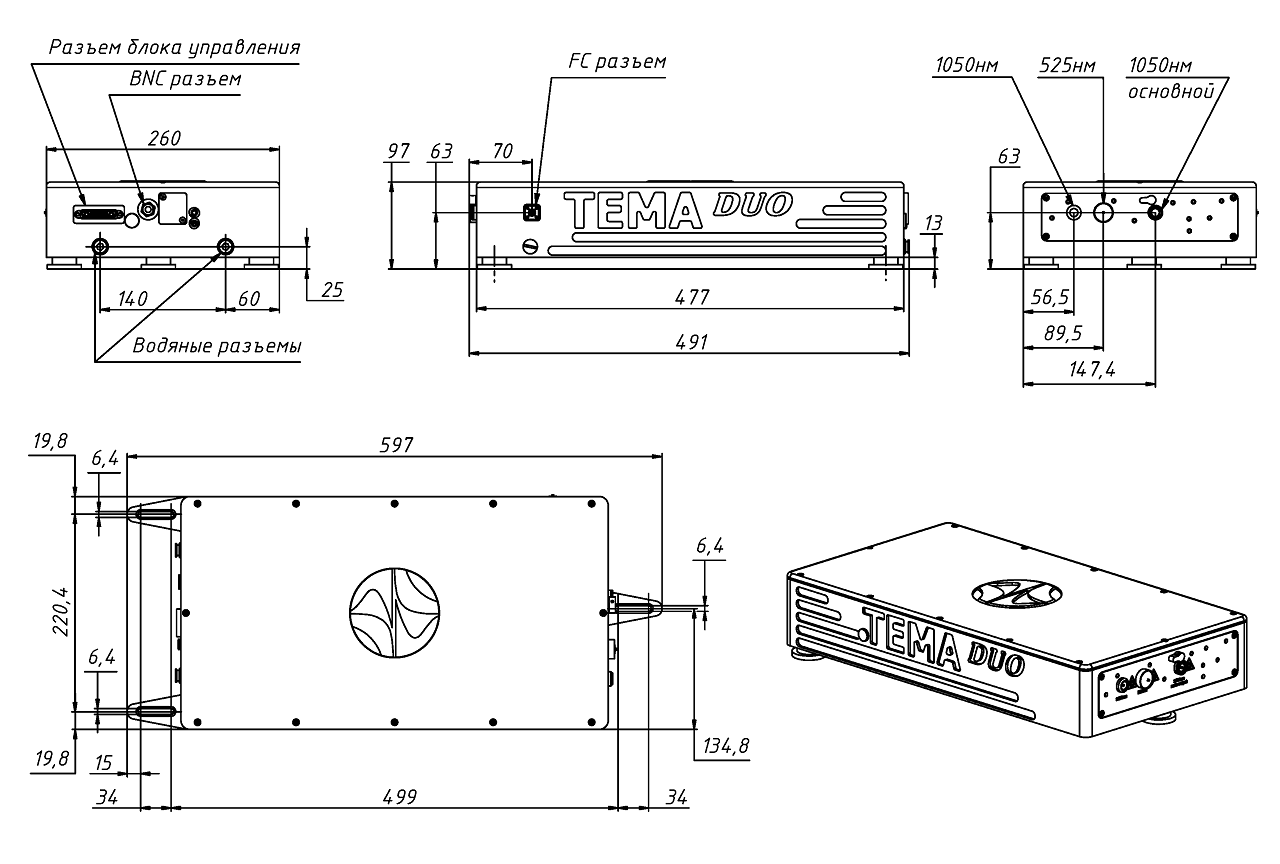Габаритные размеры оптического блока TEMA-DUO, в мм.