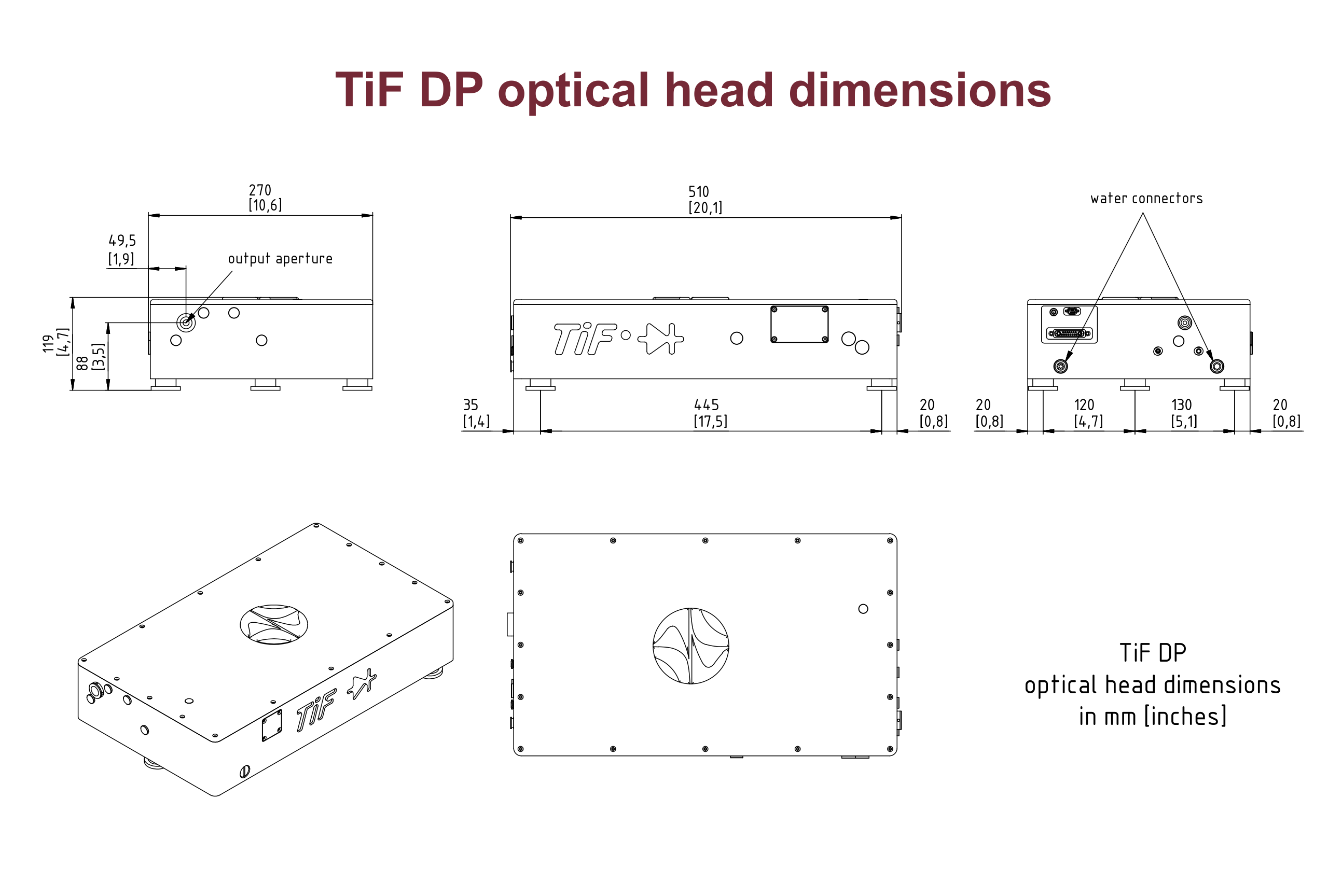Dimensions of the TiF-DP laser head including the pump module