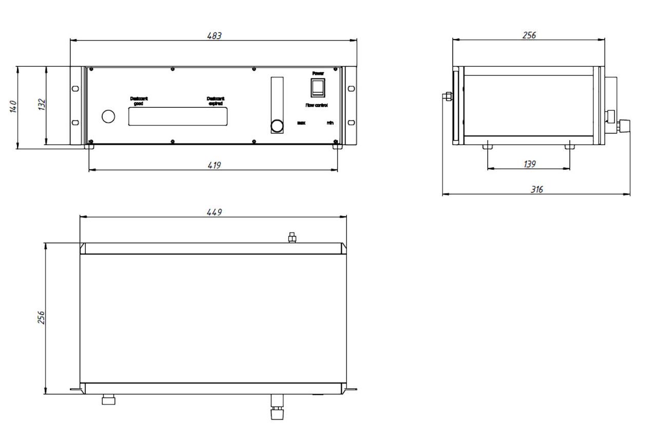 Габаритный чертеж блока осушения и очистки воздуха FRESH-4.5