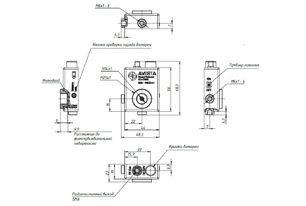 Габаритные и присоединительные размеры фотоприемника OD-03B2